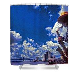 New Orleans Jazzman Shower Curtain by Dennis Cox