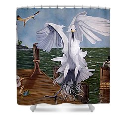 New Point Egret Shower Curtain by Debbie LaFrance