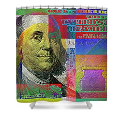 New Pop-colorized One Hundred Us Dollar Bill Shower Curtain by Serge Averbukh