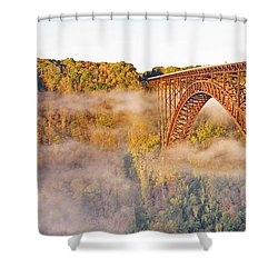 New River Gorge Bridge Morning Fall Panorama Shower Curtain