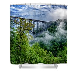 New River Gorge Bridge Morning  Shower Curtain