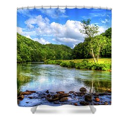 New River Summer Shower Curtain by Dale R Carlson
