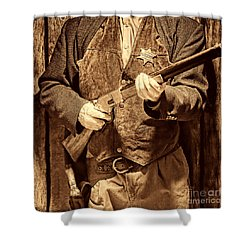 New Sheriff In Town Shower Curtain by American West Legend By Olivier Le Queinec