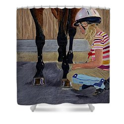 New Shoe Review Horse And Children Painting Shower Curtain by Patricia Barmatz