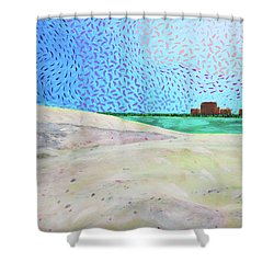 New Smyrna Beach As Seen From A Dune On Ponce Inlet Shower Curtain