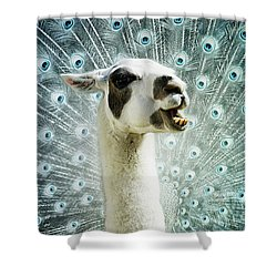 Shower Curtain featuring the mixed media New Species by Jutta Maria Pusl