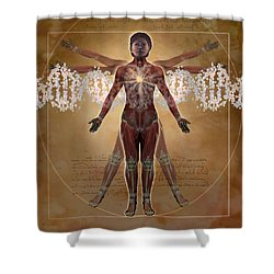 New Vitruvian Woman Shower Curtain by Jim Dowdalls and Photo Researchers