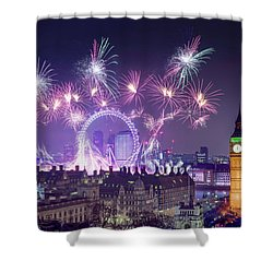 New Year Fireworks London Shower Curtain