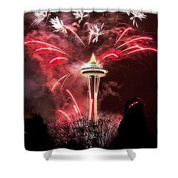 Shower Curtain featuring the photograph New Years At The Space Needle by Peter Simmons