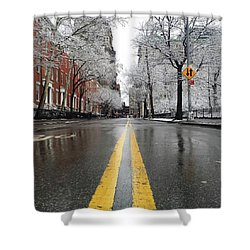 New York 1st Snow Shower Curtain