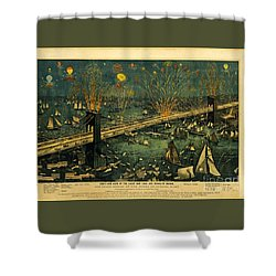 Shower Curtain featuring the photograph New York And Brooklyn Bridge Opening Night Fireworks by John Stephens