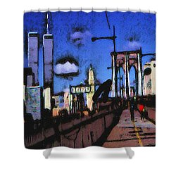 New York Blue - Modern Art Painting Shower Curtain