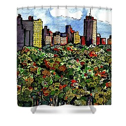 Shower Curtain featuring the painting New York Central Park by Terry Banderas