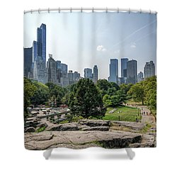 New York Central Park With Skyline Shower Curtain