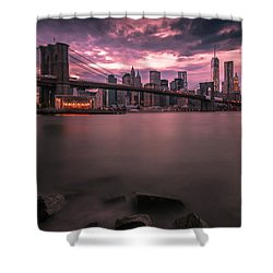 New York City Brooklyn Bridge Sunset Shower Curtain