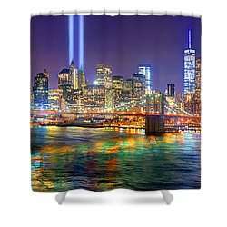 New York City Brooklyn Bridge Tribute In Lights Freedom Tower World Trade Center Wtc Manhattan Nyc Shower Curtain