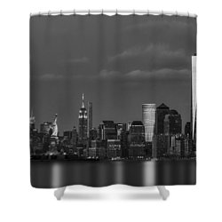 Shower Curtain featuring the photograph New York City Icons Bw by Susan Candelario