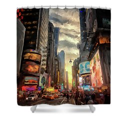Shower Curtain featuring the photograph New York City Lights by Lois Bryan