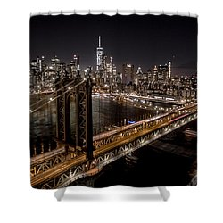 New York City, Manhattan Bridge At Night Shower Curtain by Petr Hejl