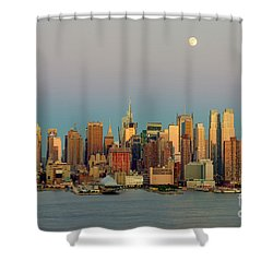 New York City Moonrise I Shower Curtain by Clarence Holmes