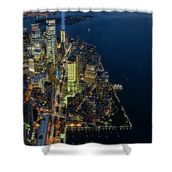 Shower Curtain featuring the photograph New York City Remembers 911 by Susan Candelario