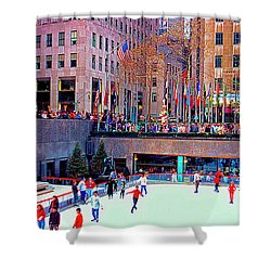 New York City Rockefeller Center Ice Rink  Shower Curtain