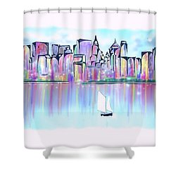Shower Curtain featuring the digital art New York City Scape by Darren Cannell