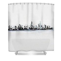 New York City Skyline Black And White Shower Curtain