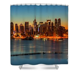 New York City Skyline Morning Twilight V Shower Curtain by Clarence Holmes