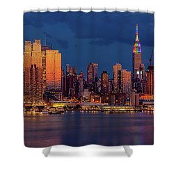 Shower Curtain featuring the photograph New York City Skyline Pride by Susan Candelario