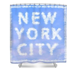 Shower Curtain featuring the painting New York City Skywriting Typography by Georgeta Blanaru