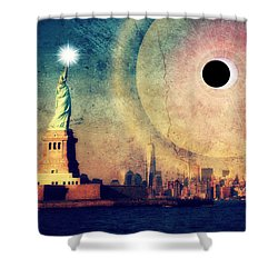 New York City Solar Eclipse 2017 II Shower Curtain