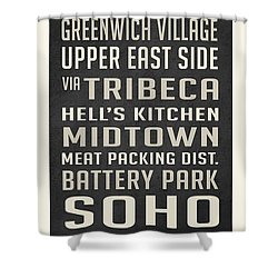 New York City Subway Stops Vintage Shower Curtain