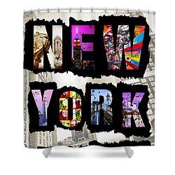 New York City Text Shower Curtain