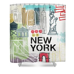 New York Cityscape- Art By Linda Woods Shower Curtain