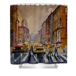 New York Cityscape Rainy Morning Commute Shower Curtain