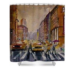 New York Cityscape Rainy Morning Commute Shower Curtain