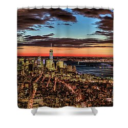New York Electric Twilight Shower Curtain