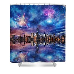 Shower Curtain featuring the photograph New York Fireworks by Ian Mitchell