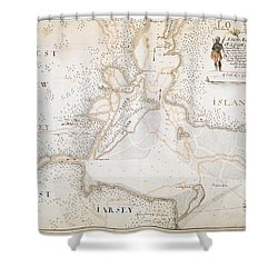 New York Harbor Map 1700 Shower Curtain