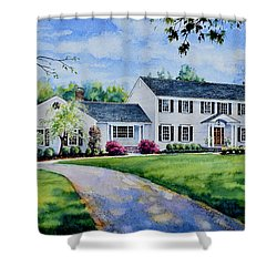 Shower Curtain featuring the painting New York Home Portrait by Hanne Lore Koehler