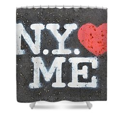 New York Loves Me Stencil Shower Curtain