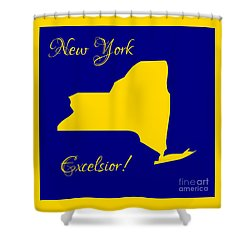 New York Map In State Colors Blue And Gold With State Motto Excelsior Shower Curtain by Rose Santuci-Sofranko