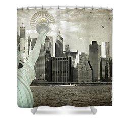 New York New York Da Shower Curtain by Judy Wolinsky