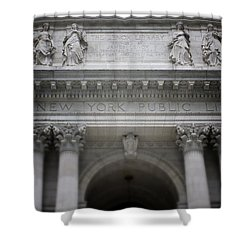 Shower Curtain featuring the mixed media New York Public Library- Art By Linda Woods by Linda Woods