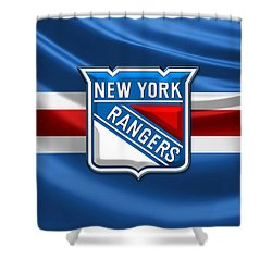 New York Rangers - 3d Badge Over Flag Shower Curtain