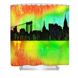 New York Skyline Silhouette Colorful - Pa Shower Curtain