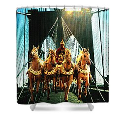 New York Time Machine - Fantasy Art Collage Shower Curtain by Art America Gallery Peter Potter