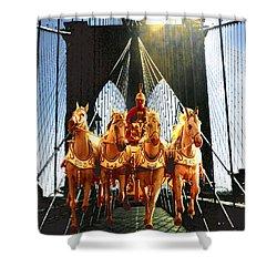 New York Brooklyn Bridge Fantasy Collage Shower Curtain