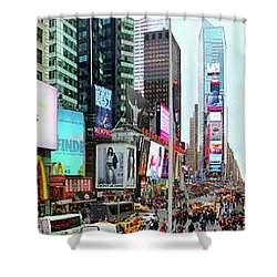 New York Times Square Panorama Shower Curtain by Kasia Bitner